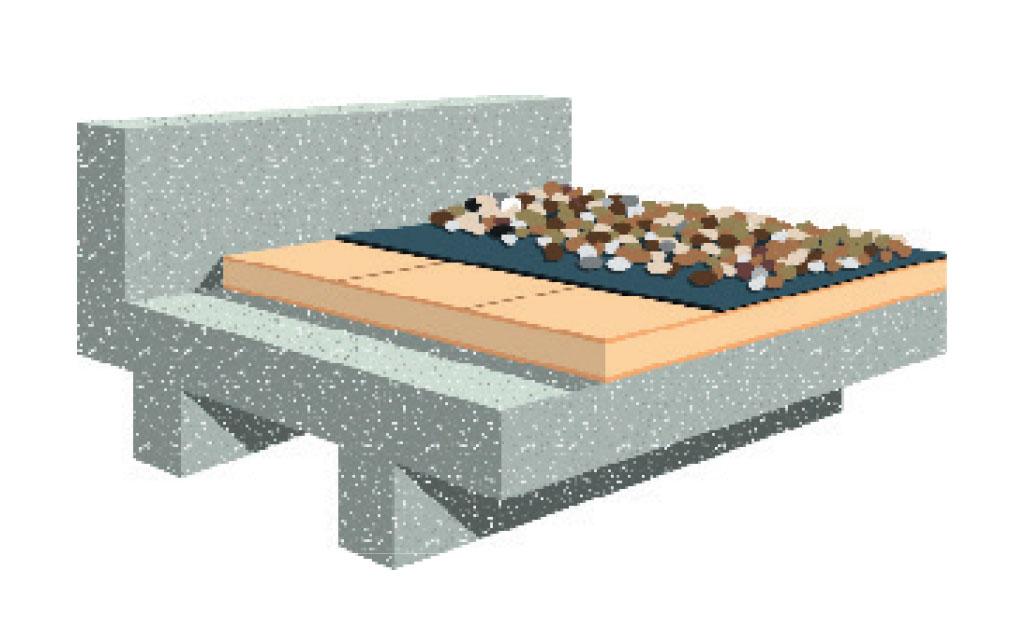 lapostető szigetelés RubberGard gumilemezzel-terhelt tető rétegrend ábra